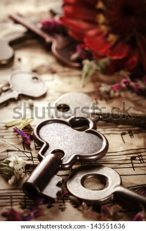 Vintage background with old keys - stock photo
