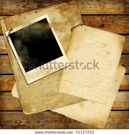 vintage background with old letters and frame - stock photo