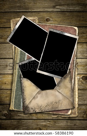 vintage background with old letters and frames - stock photo