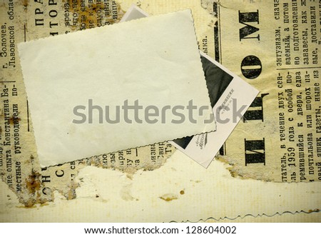 Vintage background with old paper and photos - stock photo