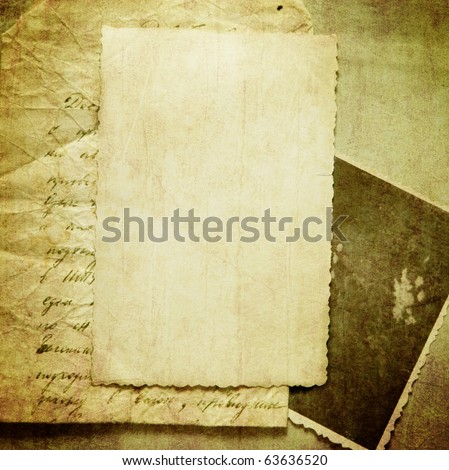 Vintage background with old paper, letters and photos - stock photo
