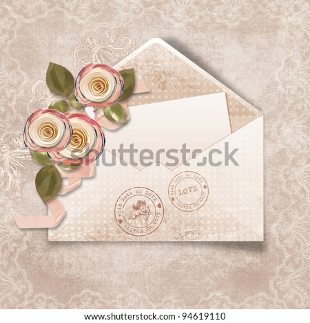 Vintage  background with old postcard and roses for congratulations and invitations