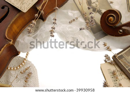 Vintage background with old violin - stock photo