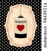Vintage background with ornamental birdcages and red heart - stock photo