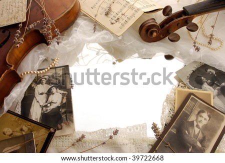 Vintage background with photographs and old broken violin - stock photo