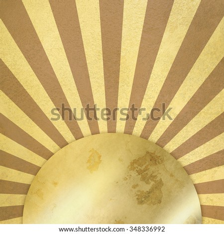 Vintage background with rays and gold plate - stock photo