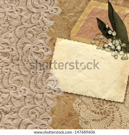 Vintage background with retro lilies of the valley. Beautiful card for a congratulation or the invitation. Raster photo-collage in style of a retro. - stock photo