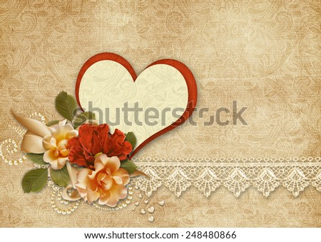 Vintage background with roses and heart.Valentines card. - stock photo