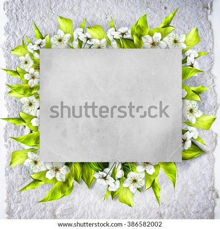 Vintage background with stamp frame and cherry tree flowers for congratulations and invitations, wedding card background with a border of white flowers, green leaves and paper texture. Spring bloom - stock photo