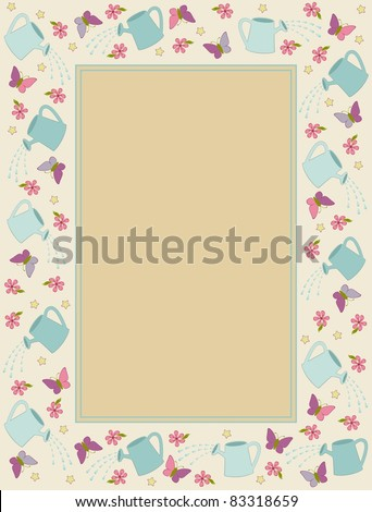 Vintage background with watering-can, butterfly and flowers