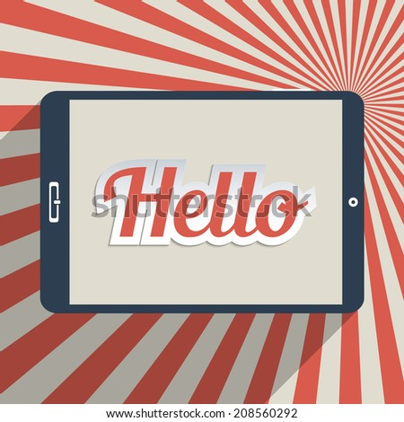 """Vintage background with word """"Hello"""". Concept for social network, social media and global communication. Flat design illustration. - stock photo"""