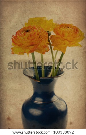 Vintage background with yellow-orange flowers in a vase - stock photo