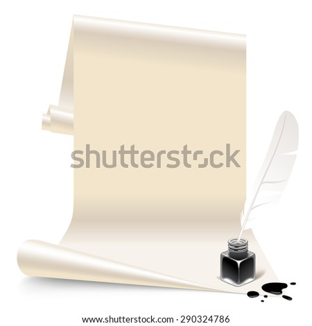 Vintage banner in the form of white paper with an inkwell and feather - stock photo