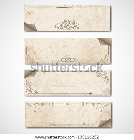 Vintage banners with calligraphic elements.Raster version