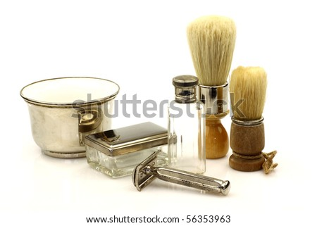 vintage  barber tools on a white background - stock photo