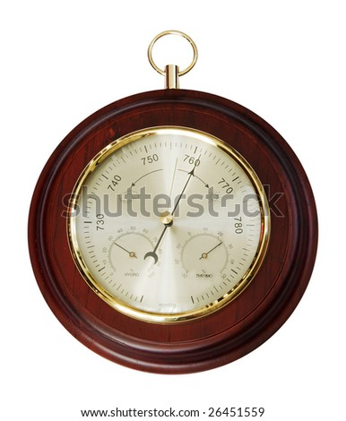 vintage barometer isolated on white background with clipping path - stock photo
