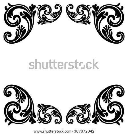 Vintage baroque frame scroll ornament engraving border floral retro pattern antique style acanthus foliage swirl decorative design element filigree calligraphy - stock photo