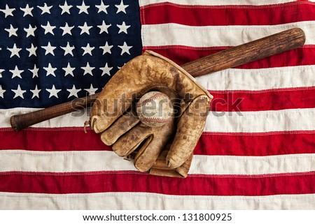 Vintage Baseball Bat Glove And Ball On A American Flag