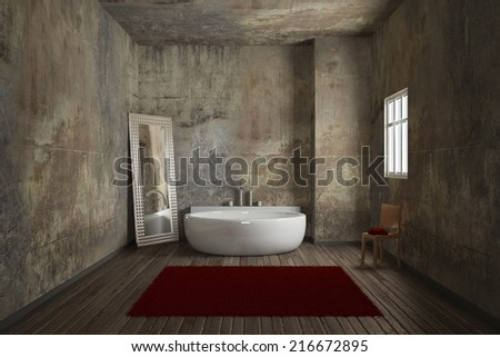 Vintage Bathroom Brick Wall Big Mirror Stock Illustration 216672895    Shutterstock