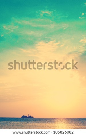 Vintage beach and sky - stock photo