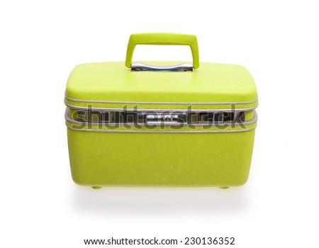 Vintage beaty case or make-up case isolated on white - stock photo