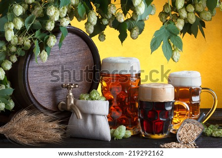 Vintage beer barrel with two beer glasses and fresh hops, metal scoop with barley on wooden table still life