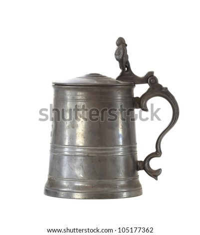vintage beer iron mug - stock photo