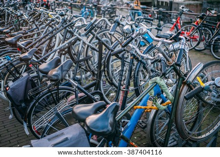 Vintage bicycle details. Close-up. Bicycle parking. Amsterdam.
