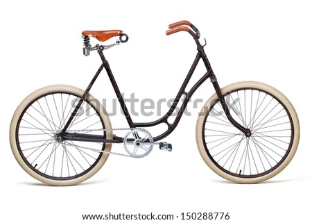 Vintage bicycle isolated on white. Including clipping path - stock photo