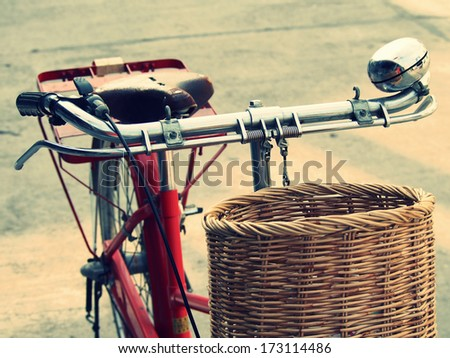 Vintage bicycle parked on the street and shot from the front. Selective Focus on front - stock photo