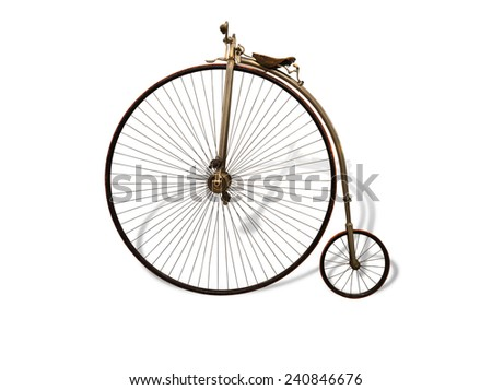 Vintage bicycle with shadow isolated on white - stock photo