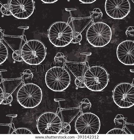 Vintage Bicycles Seamless Pattern on Black Grunge Background. Raster version - stock photo