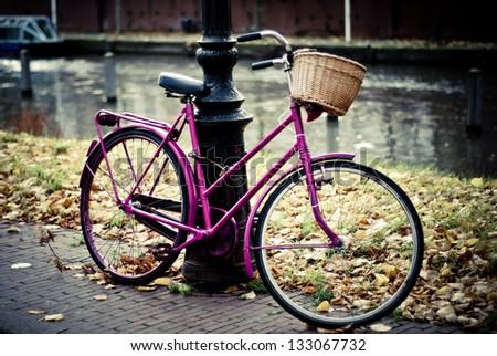 Vintage bike in Amsterdam - stock photo