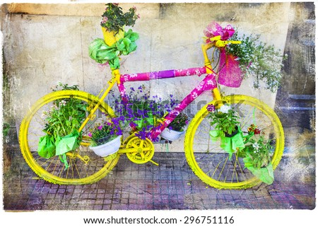 vintage bikes street decoration, artistic picture - stock photo