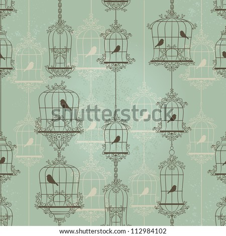 Vintage birds and birdcages. Pattern. Wallpaper. - stock photo