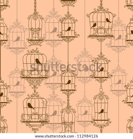 Vintage birds and birdcages. Vector illustration. - stock photo