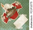 Vintage birthday card with funny cupcake and copy space - stock photo