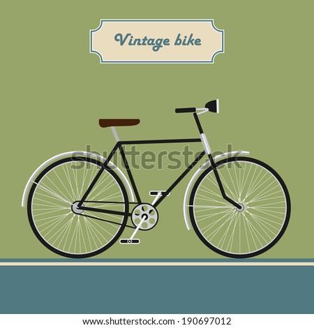 Vintage black bike on modern style background isolated. Rasterized vector illustration - stock photo