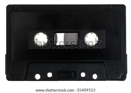 Vintage black Compact Cassette on white background