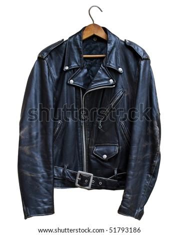 vintage black leather biker jacket, isolated on white background - stock photo