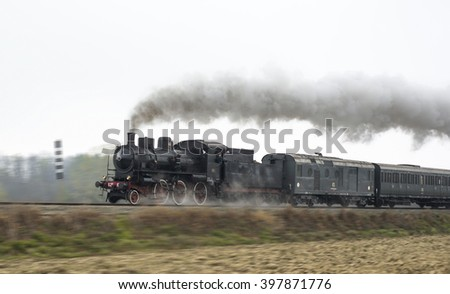 Vintage black steam train  - stock photo