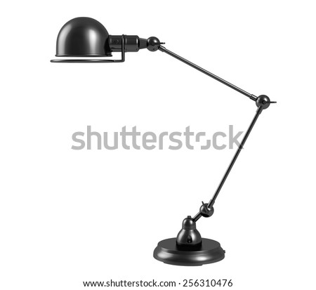 Vintage black table lamp on white background. - stock photo