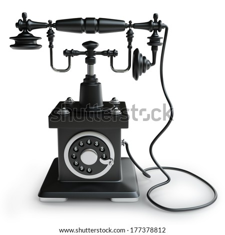 Vintage black Telephone isolated on white background High resolution 3d  - stock photo