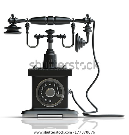 Vintage black Telephone isolated on white background High resolution 3d