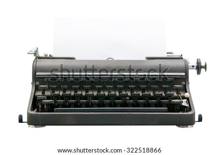 Vintage black typewriter isolated on white background - stock photo