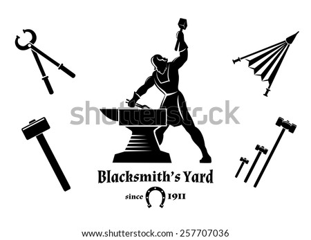 Vintage blacksmith. Hammer and tongs, anvil and craft, logo and tools - stock photo