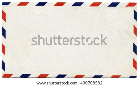 Vintage blank air mail envelope with copy space - stock photo