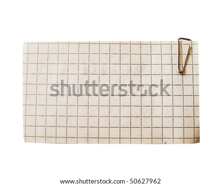vintage Blank note paper and paper-clip. Isolated - stock photo