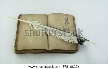 vintage blank open book with bird's feather , empty copy space on pages, top view - stock photo