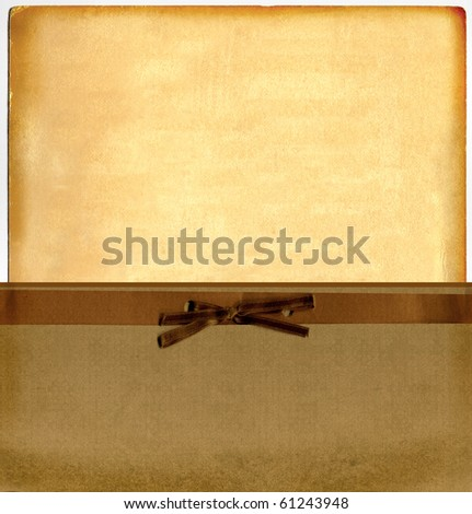 Vintage Blank Real Cardboard Paper In Pocket Envelope With Bow And Ribbon - stock photo